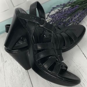BOC Black Leather Wedge Sandals